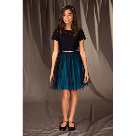 Elegancka sukienka dla dziewczynki 14B/J/19,z tiulem,w morskim kolorze,sklep e-zygzak.pl