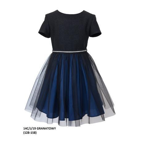 Elegancka sukienka dla dziewczynki 14C/J/19, z tiulem, wizytowa, do szkoły,e-zygzak.pl