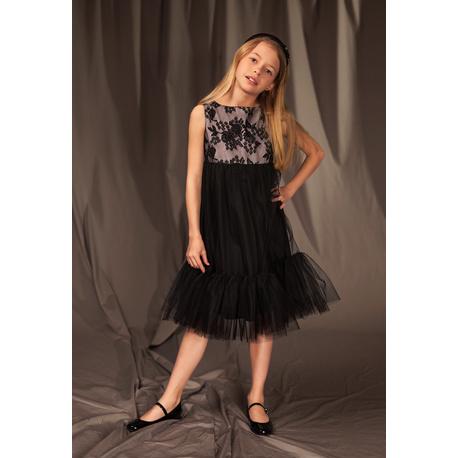 Tiulowa sukienka dla dziewczynki 2/J/19, z koronkową górą, z falbaną, do szkoły, e-zygzak.pl
