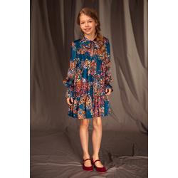 Wielokolorowa sukienka dla dziewczynki 13B/J/19, zwiewna, kwiatowa,z falbaną u dołu, sklep