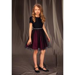 Elegancka sukienka dla dziewczynki 14A/J/19,z tiulem,wizytowa,rozkloszowana, e-zygzak.pl