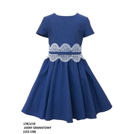 Rozkloszowana sukienka dla dziewczynki 17B/J/19,z koronką, granatowa, elegancka, e-zygzak.pl