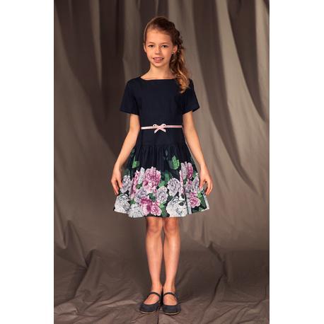 Okolicznościowa sukienka dla dziewczynki 21/S/19,kwiatowa, elegancka, e-zygzk.pl