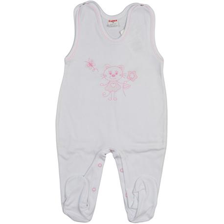 Śpioch niemowlęcy Gamex biały z haftem, z różowym haftem, bawełniany,zapinany na napy, sklep