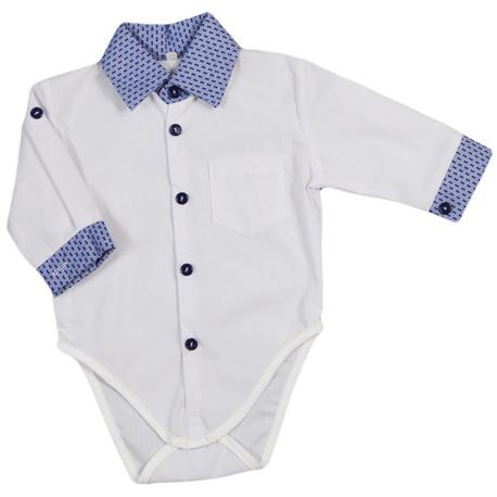 Biała koszula z body z niebieskim kołnierzykiem, elegancka koszula, dla niemowlaka,sklep e-zygzak.pl