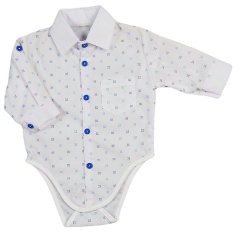 Biała koszula z body we wzorki, dla niemowlaka, wizytowa, na chrzest, sklep e-zygzak.pl