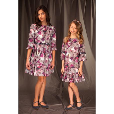 Bawełniana sukienka dla dziewczynki 18B/J/19, wielokolorowa, w róże, na okazje, sklep e-zygzak.pl