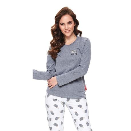 Doctor Nap Szara dwuczęściowa piżama z nadrukiem w jeżyki