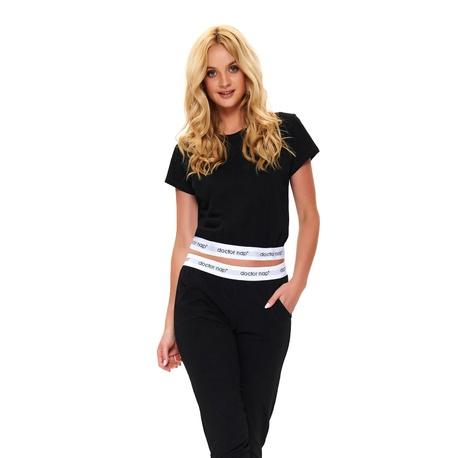 Doctor Nap Bestseller - czarna piżama z krótkim topem ozdobiona gumami z logo Doctor Nap