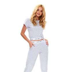 Doctor Nap Bestseller - szara piżama z krótkim topem ozdobiona gumami z logo Doctor Nap