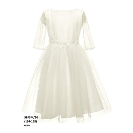 Sukienka dla dziewczynki do I Komunii Ecru 5B/SM/20, piękna ,tiulowa, z rękawkiem, sklep