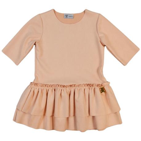 Sukienka dla dziewczynki z falbankami, pudrowy róż, sukienka zamszowa,e-zygzak.pl