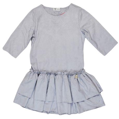 Sukienka dla dziewczynki z falbankami szara, zamsowa, mięciutka, we wzorki, e-zygzak.pl
