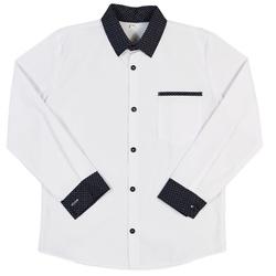 Koszula chłopięca z granatowym kołnierzykiem w pepitkę, biała, szkolna, elegancka,e-zygzak.pl