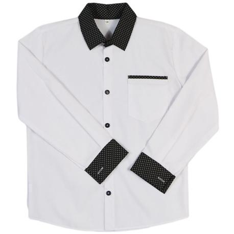Koszula chłopięca z czarnym kołnierzykiem w pepitkę, szkolna, na galowo,e-zygzak.pl