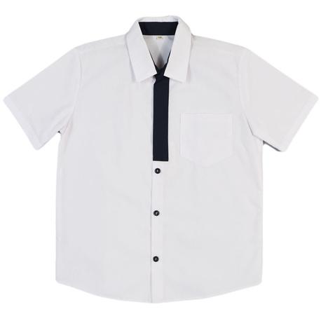 Koszula chłopięca z granatową plisą, z krótkim rękawem, szkolna, e-zygzak.pl