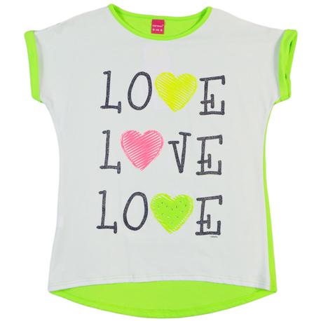 Bluzka dla dziewczynki z krótkim rękawem limonka, kimono, z aplikacją, e-zygzak.pl