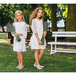 Biała koronkowa sukienka dziewczęca 10A/SM/20, na komunię, z rękawkiem, e-zygzak.pl