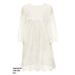 Dziewczęca sukienka z koronki w kolorze Ecru 10B/SM/20, z rozkloszowanym rekawem, e-zygzak.pl