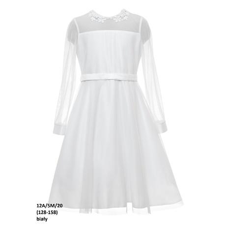 Biała wizytowa sukienka dziewczęca 12A/SM/20,z tiulowym karczkiem, długi rękaw, e-zygzak.pl