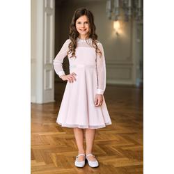 Wizytowa sukienka dziewczęca Różowa 12B/SM/20, z gipiurą, na przebranie po komunii,e-zygzak.pl
