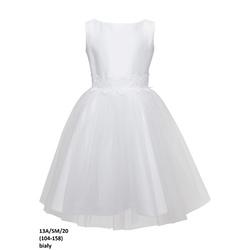 Biała sukienka z tiulu dla dziewczynki 13A/SM/20, z koronką, wizytowa, elegancka,e-zygzak.pl