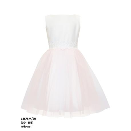 Sukienka z tiulu dla dziewczynki 13C/SM/20, wizytowa, elegancka, na komunię, e-zygzak.pl