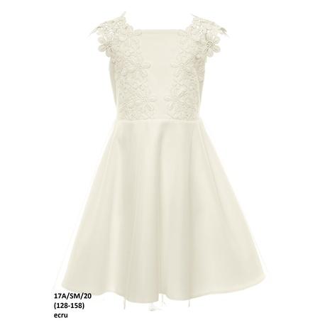 Biała sukienka dla dziewczynki z gipiurą 17A/SM/20, na komunię, wizytowa, elegancka,e-zygzak.pl
