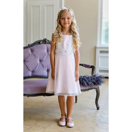 Sukienka dla dziewczynki z gipiurą Różowa 17B/SM/20,na komunię,eleganacka,sklep