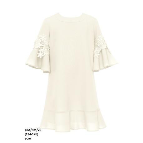 Sukienka dziewcęca z rozkloszowanymi rękawami Ecru 18A/SM/20,z gipiurą, z falbanką, sklep e-zygzak.pl