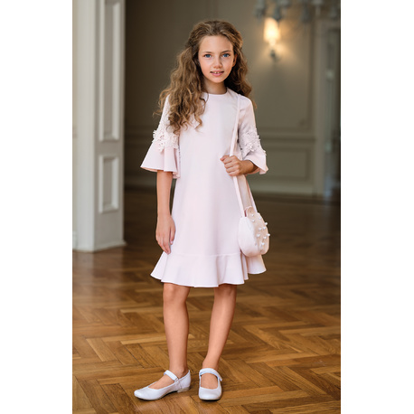 Sukienka dziewcęca z rozkloszowanymi rękawami Różowa 18B/SM/20, z gipiurą, na komunię, wizytowa, sklep e-zygzak.pl