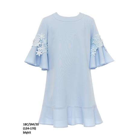 Sukienka dziewcęca z rozkloszowanymi rękawami Niebieska 18C/SM/20, z gipiurą, na przebranie po komunii, sklep e-zygzak.pl