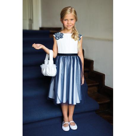Sukienka dla dziewczynki pokomunijna z tiulem 19/SM/20, z gipiurą, wizytowa, sklep e-zygzak.pl