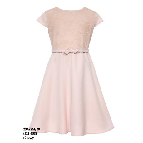 Elegancka sukienka dla dziewczynki 23A/SM/20, z koronką, na przebranie, różowa, sklep e-zygzak.pl