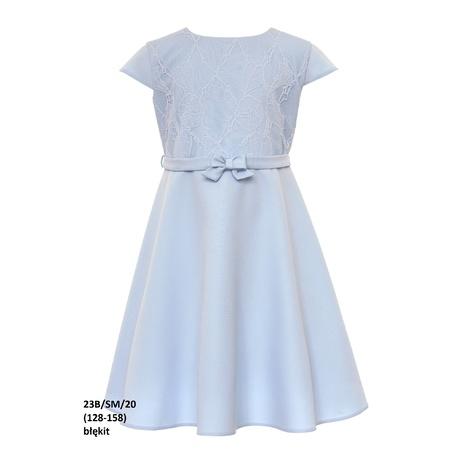 Elegancka sukienka dla dziewczynki Niebieska 23B/SM/20, z koronką, na przebranie, wizytowa, sklep e-zygzak.pl