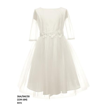 Komunijna sukienka dla dziewczynki Ecru 26A/SM/20, z tiulem, z dekoracyjną taśmą, sklep e-zygzak.pl