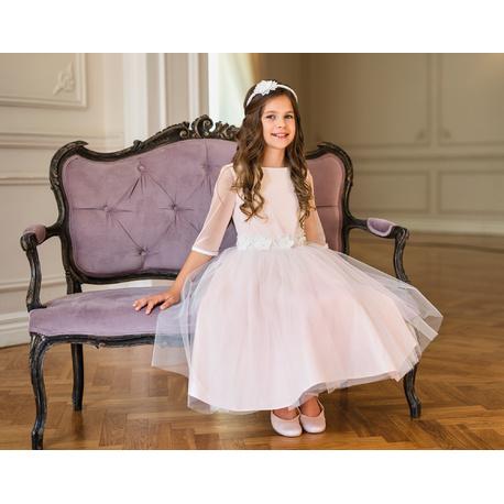 Komunijna sukienka dla dziewczynki Różowa 26B/SM/20, z ozdobną szarfą, wizytowa, sklep e-zygzak.pl