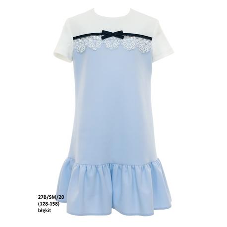 Pokomunijna sukienka dziewczęca Niebieska 27B/SM/20, z falbaną, z krotkim rękawkiem, sklep e-zygzak.pl