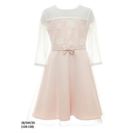 Różowa sukienka dla dziewczynki pokomunijna 28/SM/20, wizytowa, elegancka, sklep e-zygzak.pl