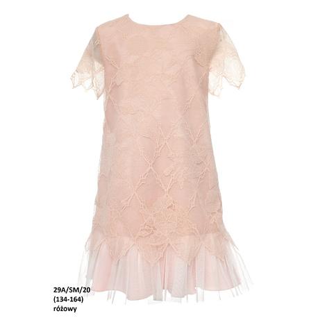Koronkowa sukienka dziewczęca Różowa 29A/SM/20, na komunię, na przebranie, elegancka, sklep e-zygzak.pl