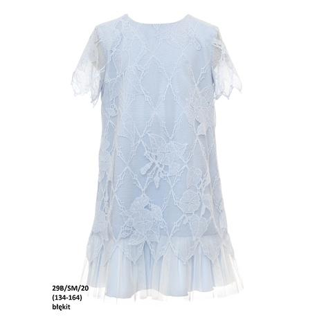 Koronkowa sukienka dziewczęca Niebieska 29B/SM/20, wizytowa, elegancka, sklep e-zygzak.pl
