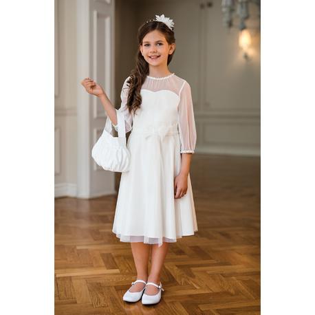Sukienka dziewczęca z tiulowym rękawem 30/SM/20, na komunię, na przebranie, sklep e-zygzak.pl