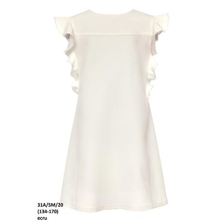 Wizytowa sukienka dla dziewczynki Ecru 31A/SM/20,z falbanami, o prostym kroju, sklep e-zygzak.pl