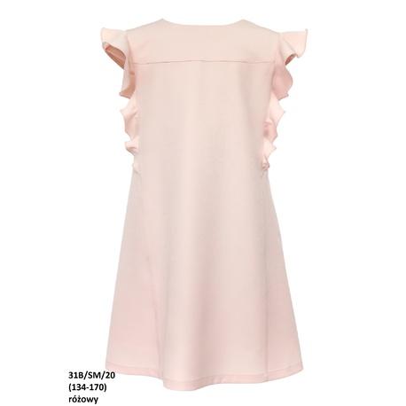 Wizytowa sukienka dla dziewczynki Różowa 31B/SM/20, z falbanami, na przebranie, po komunii, e-zygzak.pl