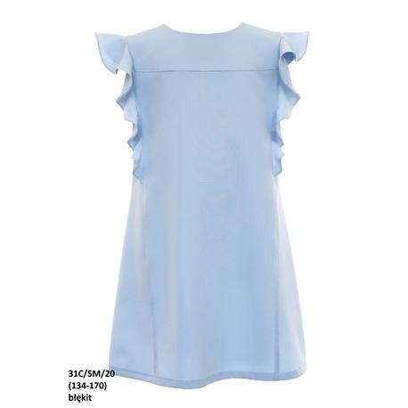 Wizytowa sukienka dla dziewczynki Niebieska 31C/SM/20, na przebranie, po komunii, z falbanami, sklep e-zygzak.pl
