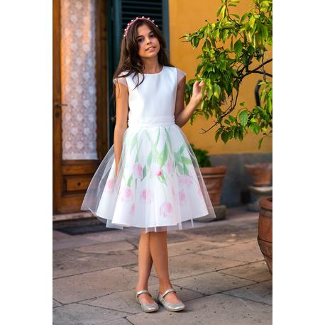 Wizytowa sukienka dziewczęca w tulipany 32/SM/20, z tiulem, na przebranie, sklep e-zygzak.pl