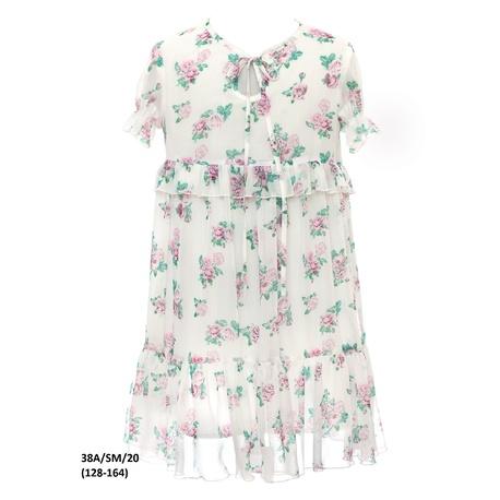 Sukienka dla dziewczynki w stylu Boho 38A/SM/20,zwiewna, kwiatowa, krótki rękaw, sklep e-zygzak.pl