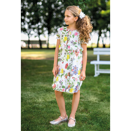 Szyfonowa sukienka dziewczęca w printy 41A/SM/20, na przebranie po komunii, zwiewna, sklep e-zygzak.pl