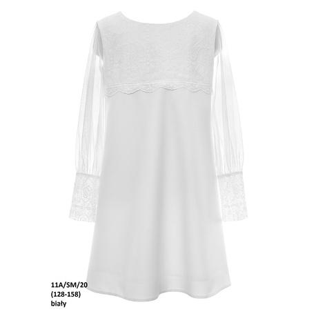 Biała sukienka dla dziewczynki z tiulowym rękawem 11A/SM/20, na komunię, wizytowa, sklep e-zygzak.pl