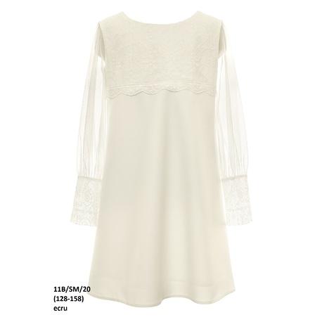Sukienka dla dziewczynki Ecru z tiulowym rękawem 11B/SM/20, na komunię, wizytowa, sklep e-zygzak.pl